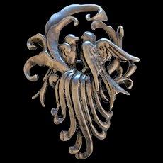 Old Heavy Sterling Silver Love Birds Pin