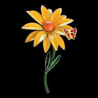 Bright Yellow Enamel Flower with Butterfly Pin