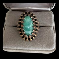Vintage Brass and Green Glass Ring