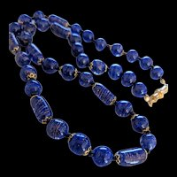 Blue Aventurine Venetian Glass Necklace