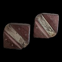 Sterling Silver Rosewood Mid Century Cufflinks