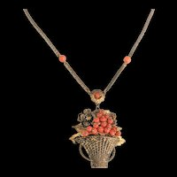 Brass and Coral Glass Basket Pendant Necklace