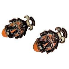 Coro Ethnic Tribal Mask Earrings