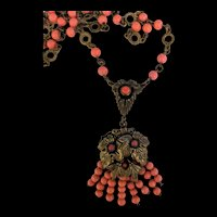 Brass and Coral Glass Beaded Lavalier Necklace