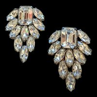 Art Deco Era Rhinestone Dress Clips