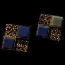 Sterling Marcasite Chalcedony Earrings