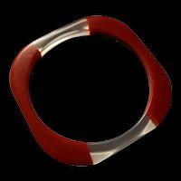 Sixties Mod Red and Clear Laminated Lucite Bangle Bracelet