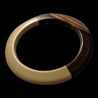 Sixties Mod Laminated Lucite and Wood Bangle Bracelet