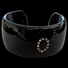 Black Cuff Bracelet with Rhinestones