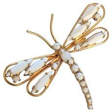 White Rhinestone Dragonfly Pin