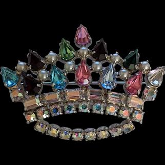 Rhinestone Crown Pin  B. David