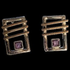 Modernist Sterling Silver Amethyst Earrings