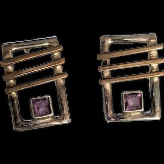 Modernist Sterling Silver Amethyst Earrings