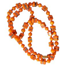 Tangerine Art Glass Beads Necklace