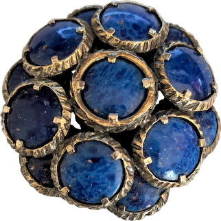 Trifari Renaissance Blue Stone Pin  Pendant Necklace