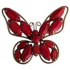 Juliana Red Rhinestone Butterfly Pin