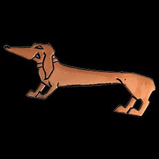 3.5 inch Copper Dachshund Dog Pin