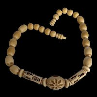 Galalith and Wood Carved and Pierced Beads Necklace