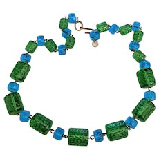 Sea Blue and Green Glass Beads Necklace