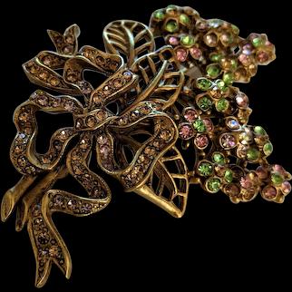 Oscar de la Renta  Rhinestone Floral Bouquet Pin