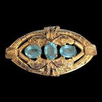 Victorian   Revival Blue Rhinestone Pin