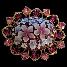 Pink Painted Porcelain Flowers with Rhinestones Pin