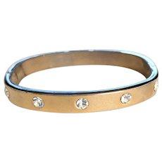 Squared Oval Rhinestone Hinged Bangle Bracelet