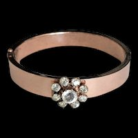 Victorian Gold Filled and Paste Stones Hinged Bangle Bracelet