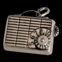 Sterling Silver Mechanical Charm Transistor Radio