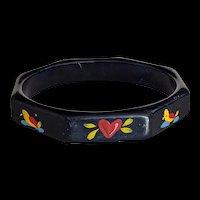 Hand Painted Black Bangle Bracelet
