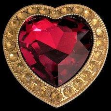 Large Red Rhinestone Heart Pin Brooch