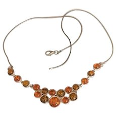 Sterling Silver Amber Bubbles Necklace