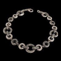 Sterling Silver Marcasite Art Deco Revival Bracelet