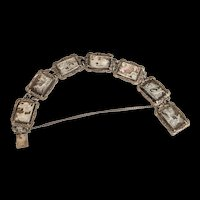 Silver 800 Carved Cameo 7 Station Bracelet with Marcasites