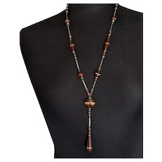 Banded Glass Art Deco Lavalier Necklace