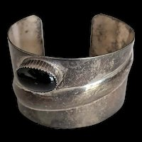 Mid Century Sterling Silver Black Onyx Bracelet