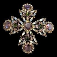 4.25 inch Rhinestone Maltese Cross Pin Pendant Necklace