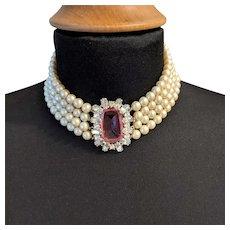 Vintage Schiaparelli Pink Rhinestone Pearl Strands Necklace