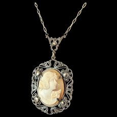 Sterling Silver Shell Cameo Lavalier Necklace