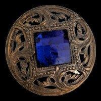 Art Nouveau Button Blue Rhinestone