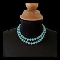 Turquoise Blue Art Glass Beaded Necklace