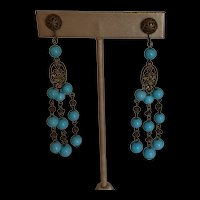 Art Deco Turquoise Glass and Brass Dangling Earrings