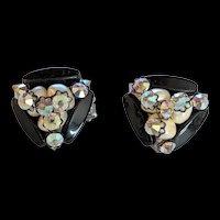 Hobe Black Glass and  Crystal Earrings