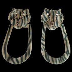 Cellulose Acetate Big Cat Articulating Earrings 3 inch