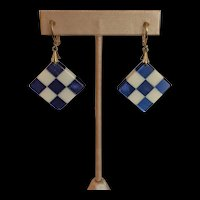 Mid Century Laminated Lucite Checkerboard Earrings