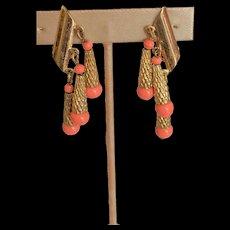 Napier Faux Coral Dangle Earrings