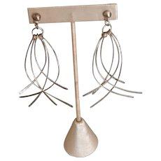 Modernist 3.5 inch Sterling Silver Dangling Earrings