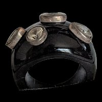 Black Glass and Sterling Ring