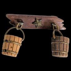 Depression Era Wood Buckets Pin