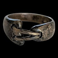 Sterling Silver Stitches Brutalist Ring